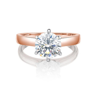 Round Brilliant Cut Solitaire with Half Round Band in Rose Gold w/ White Gold Setting