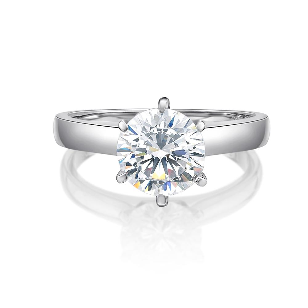 Round Brilliant Cut Solitaire with Half Round Band in White Gold