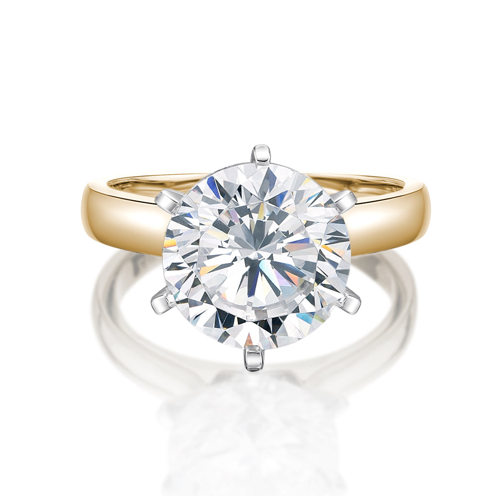 Round Brilliant Cut Solitaire with Half Round Band in Yellow Gold with White Gold Setting