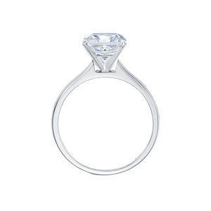 Princess Cut Solitaire With Half Round Band in White Gold