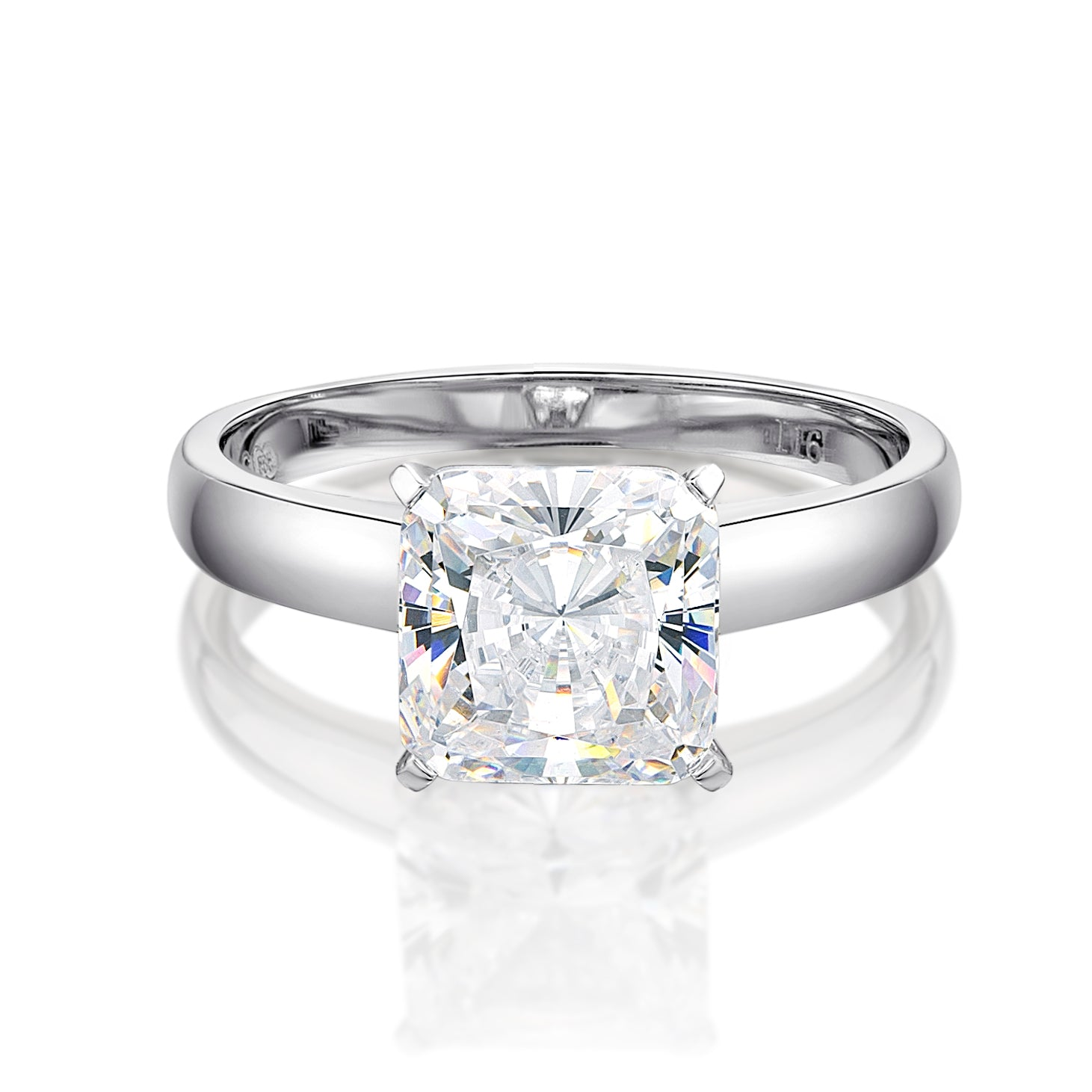 Details about  /CLEARANCE-------HCJ STAINLESS STEEL PRINCESS CUT BRIDAL CZ ENGAGEMENT RING SZ 10
