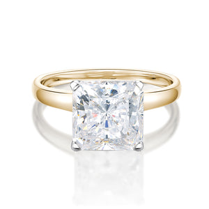 Princess Cut Solitaire With Half Round Band in Yellow Gold w/ White Gold Setting