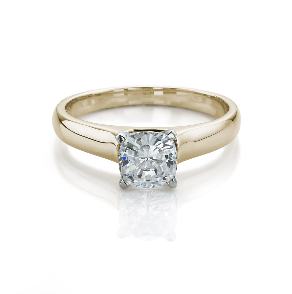 Cushion Cut Solitaire Engagement Ring in Yellow Gold w/ White Gold Setting
