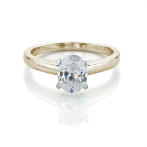 Oval Cut Solitaire Engagement Ring in Yellow Gold w/ White Gold Setting