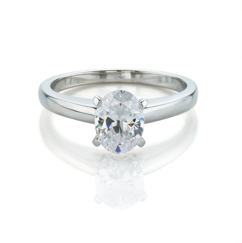 Oval Cut Solitaire Engagement Ring in White Gold
