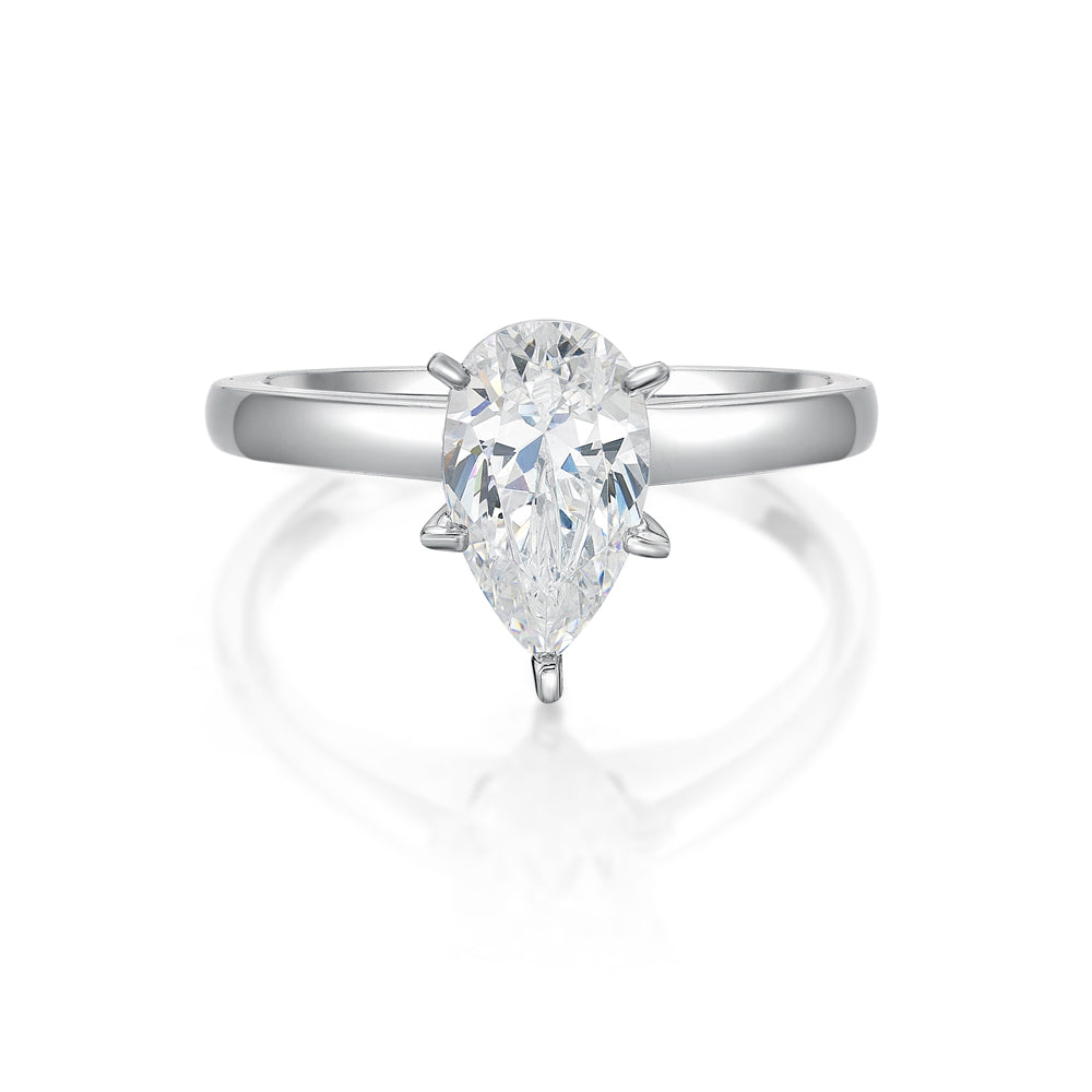 Pear Cut Solitaire Engagement Ring in White Gold