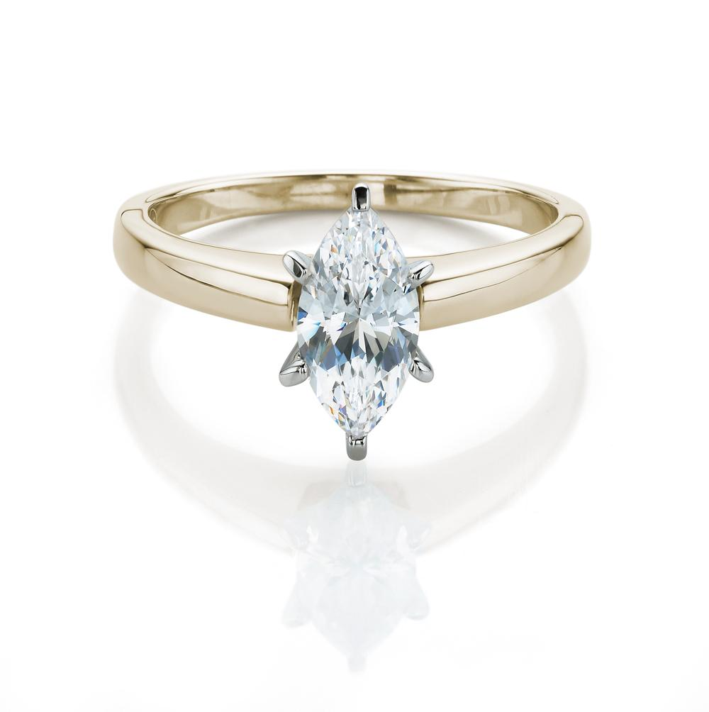 Marquise Cut Solitaire Engagement Ring in Yellow Gold w/ White Gold Setting