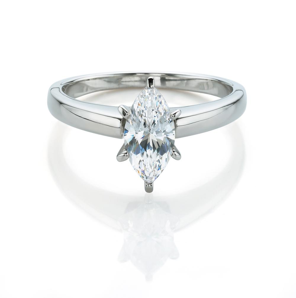 Marquise Cut Solitaire Engagement Ring in White Gold