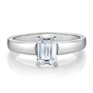Emerald Cut Solitaire Engagement Ring in White Gold