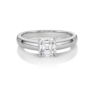 Asscher Cut Solitaire Engagement Ring in White Gold