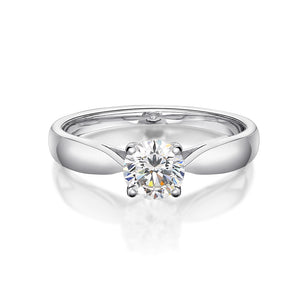 Basket Set Solitaire Engagement Ring in White Gold