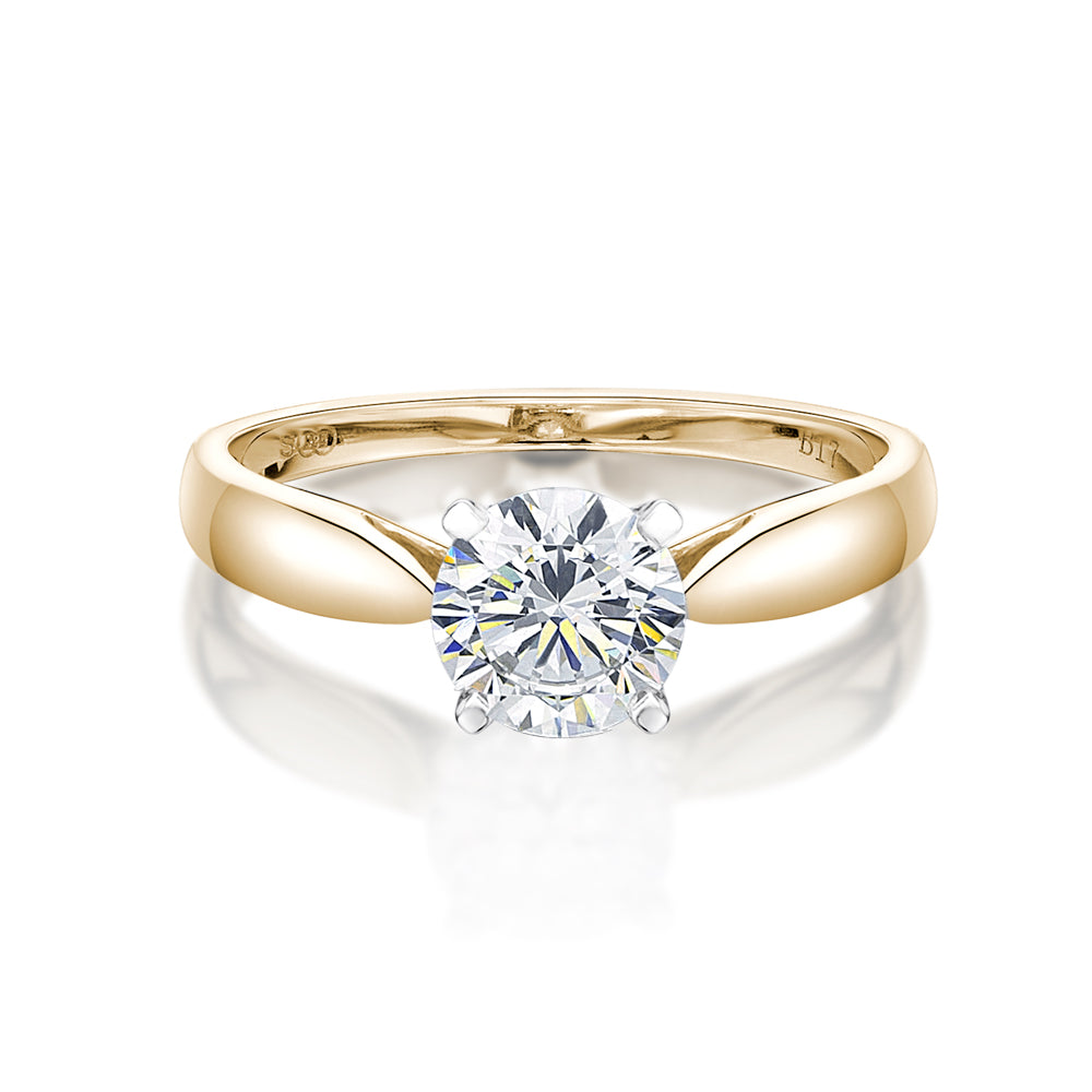 Basket Set Solitaire Engagement Ring in Yellow Gold w/ White Gold Setting