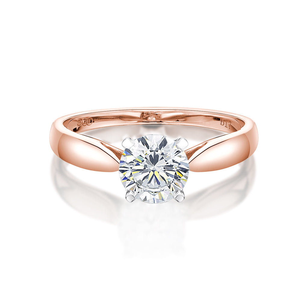 Basket Set Solitaire Engagement Ring in Rose Gold w/ White Gold Setting