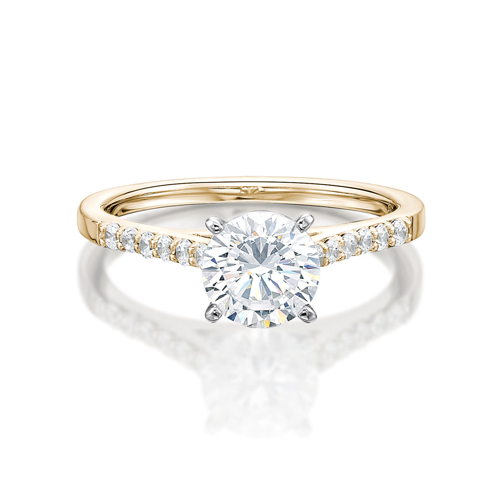 Claw Set Engagement Ring in Yellow Gold w/ White Gold Setting