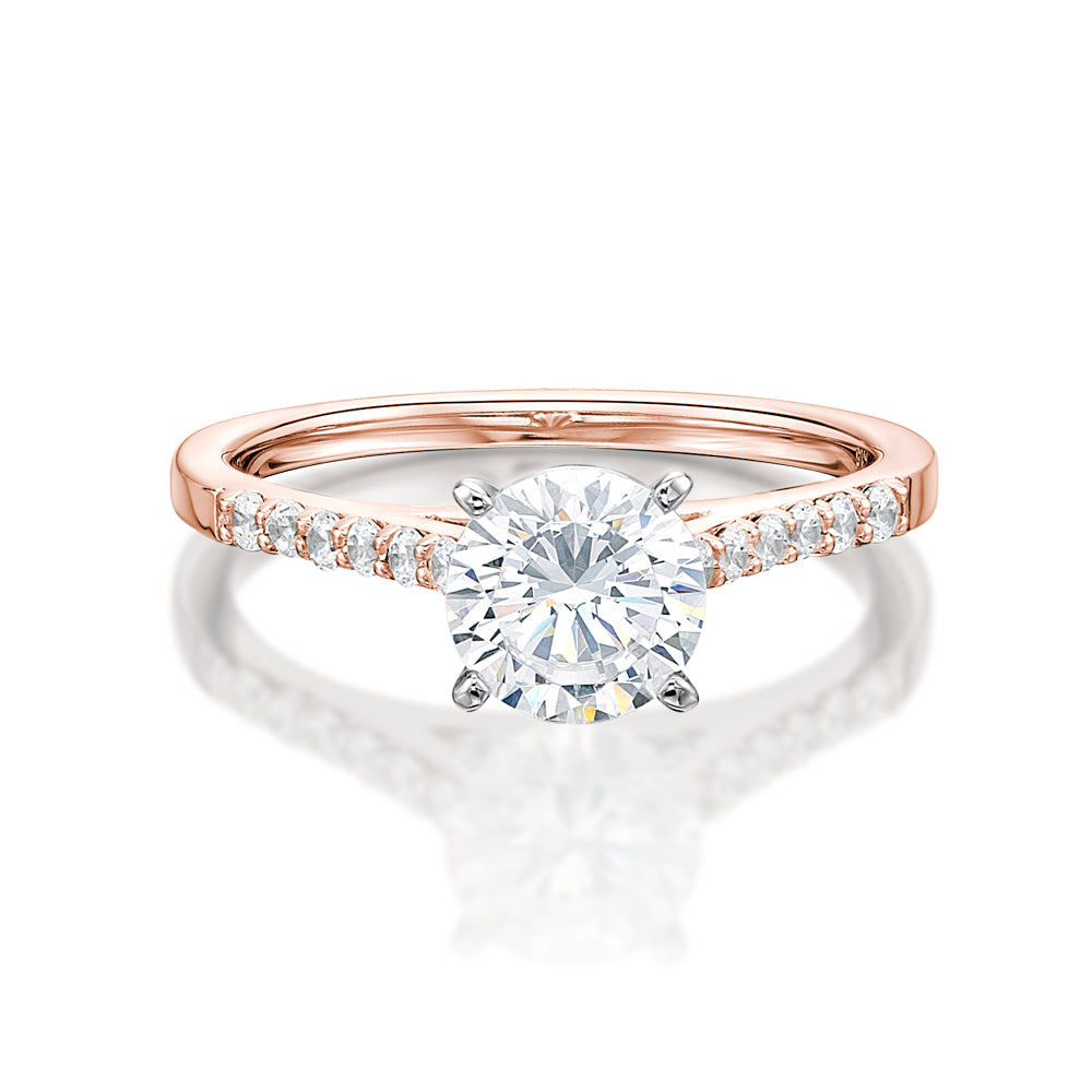 Claw Set Engagement Ring in Rose Gold w/ White Gold Setting