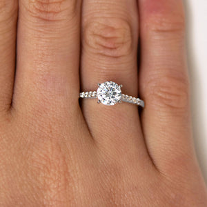 Claw Set Engagement Ring in White Gold