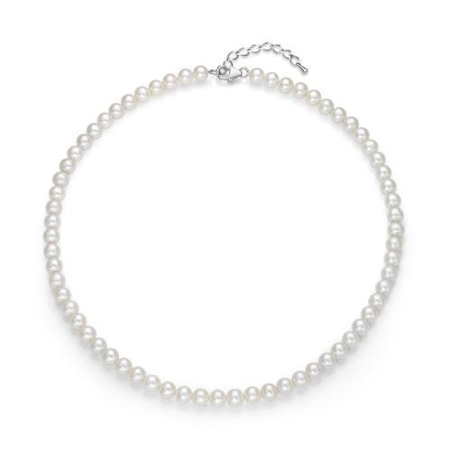Round Cultured Freshwater Pearl Necklace in Sterling Silver