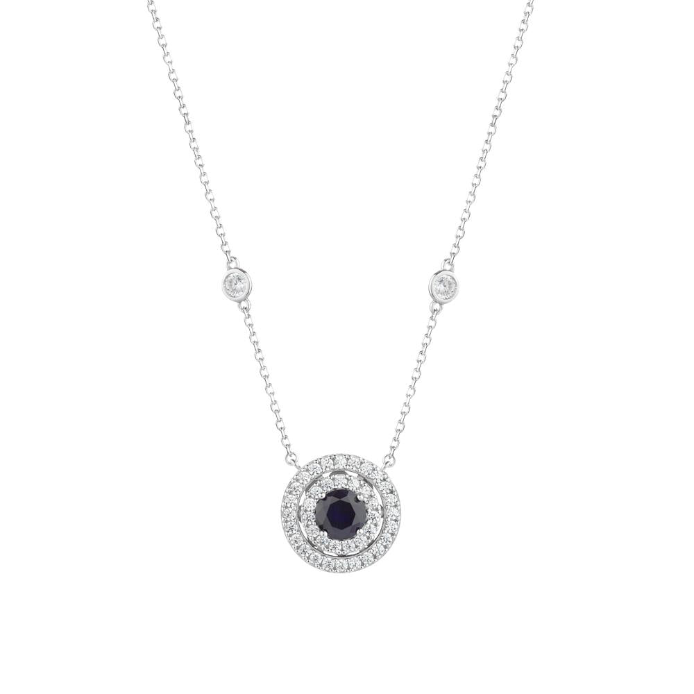 Sterling Silver Round Halo Necklace - Sapphire Colour
