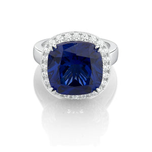 Cushion Cut Dress Ring - Sapphire Simulant Colour