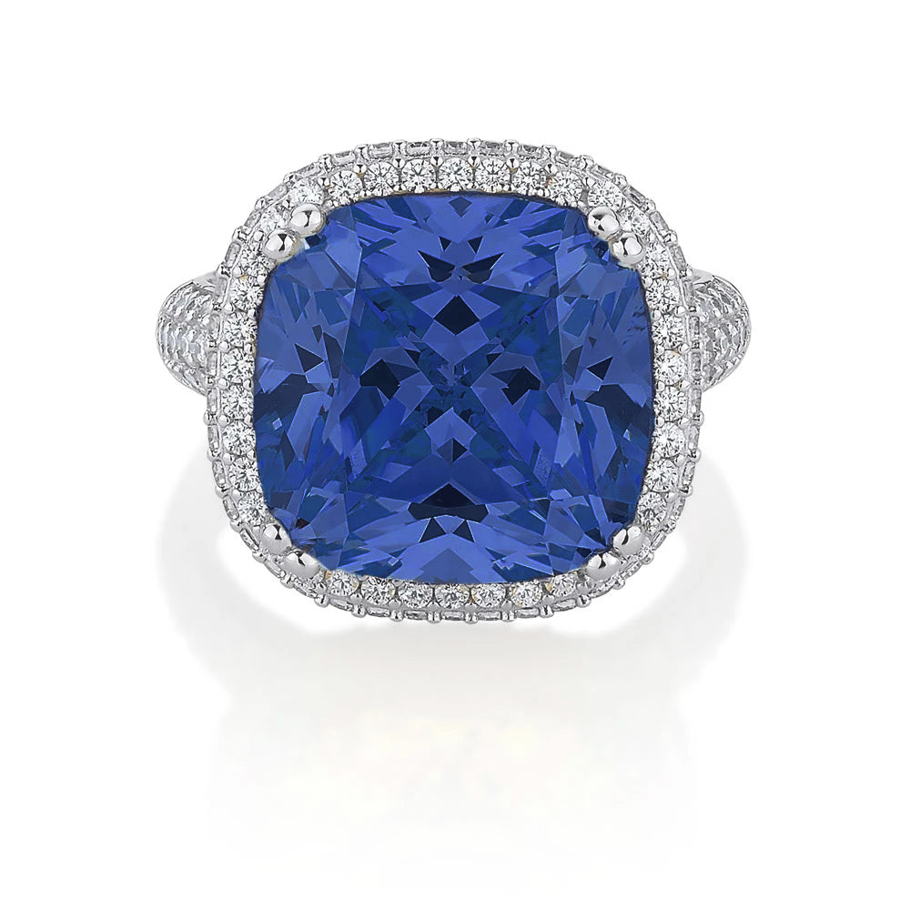 Large Cushion Cut Sterling Silver Dress Ring with shoulder stones - Tanzanite Diamond Simulant Colour