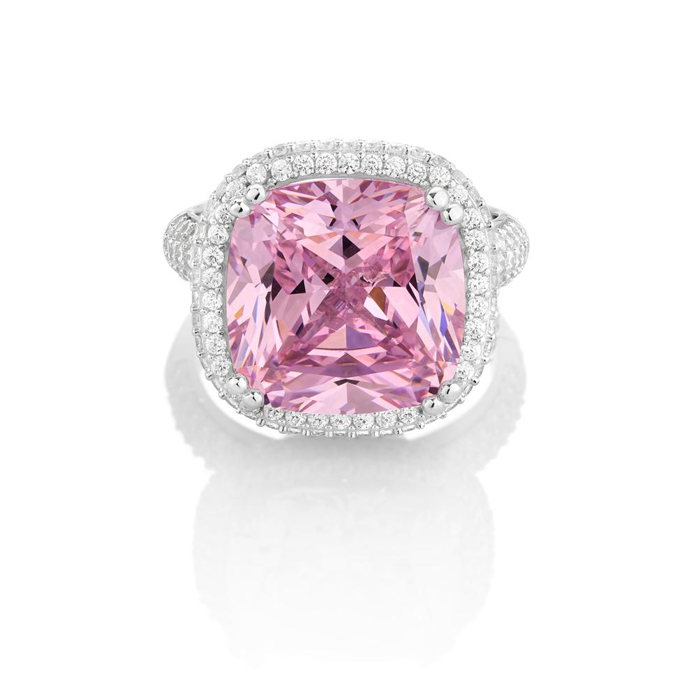 Cushion Cut Halo Dress Ring - Pink Colour