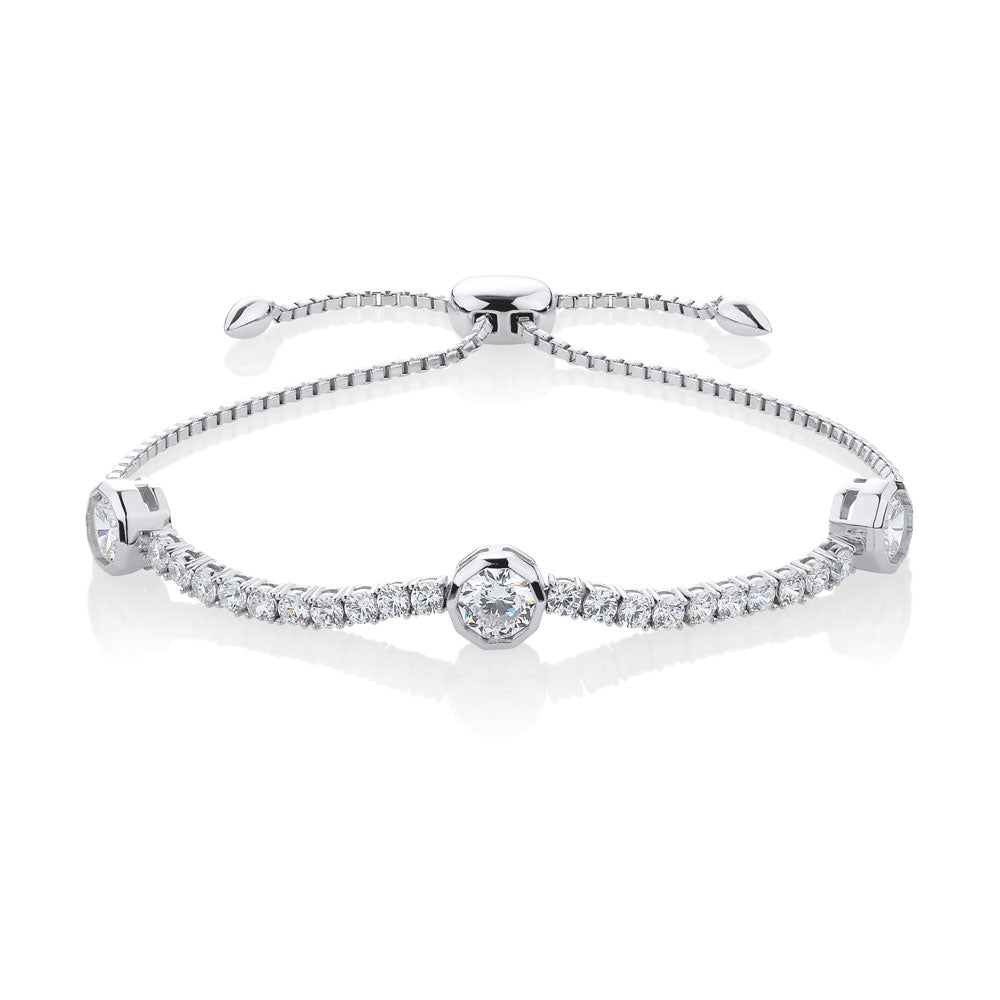 Sterling Silver Claw and Bezel Set Round Brilliant Sliding Bracelet
