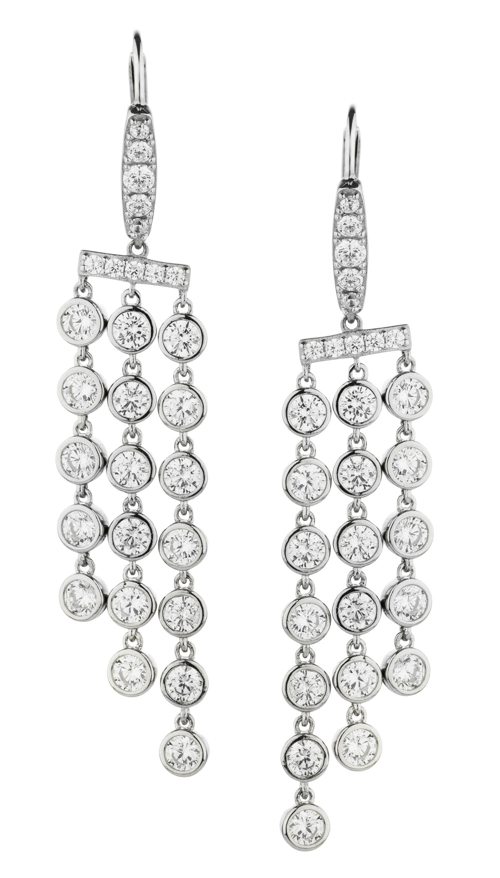 Sterling Silver Bezel Chandelier Drop Earrings