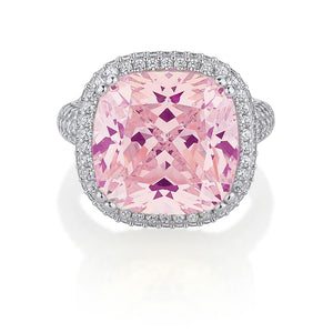 Large Cushion Cut Sterling Silver Dress Ring with shoulder stones - Pink Diamond Simulant Colour