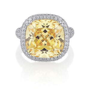 Large Cushion Cut Sterling Silver Dress Ring with shoulder stones - Yellow Diamond Simulant Colour