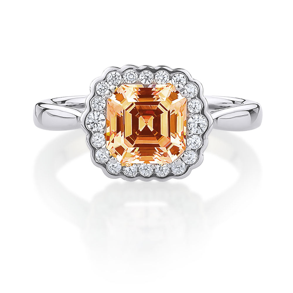 Sterling Silver Asscher cut ring with halo - Champagne diamond simulant