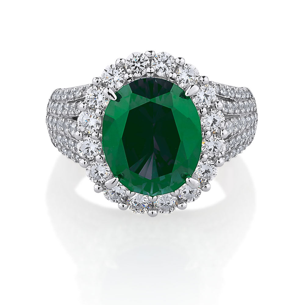 Oval Cut Halo Sterling Silver Dress Ring- Emerald Simulant Colour