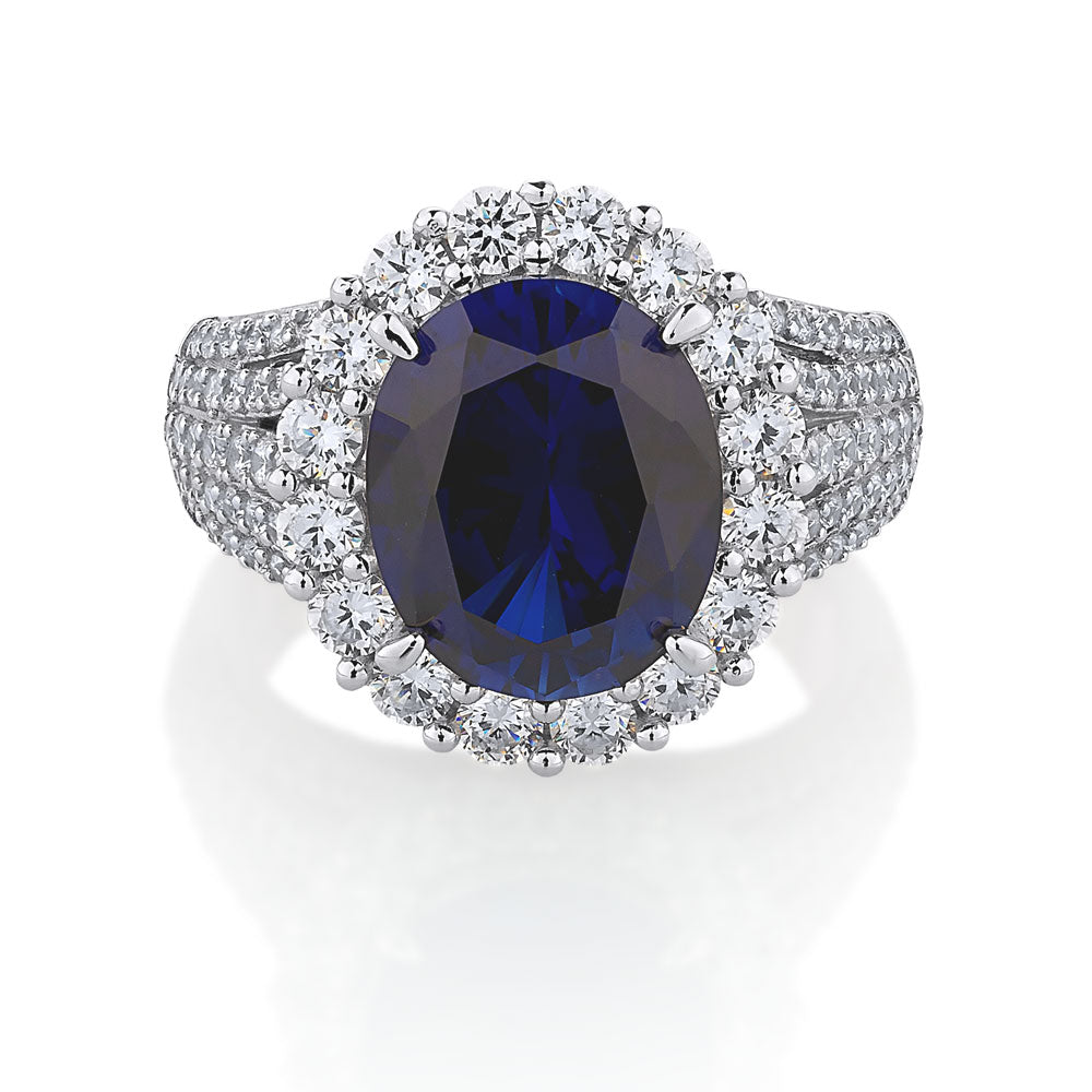 Oval Cut Halo Sterling Silver Dress Ring- Sapphire Simulant Colour
