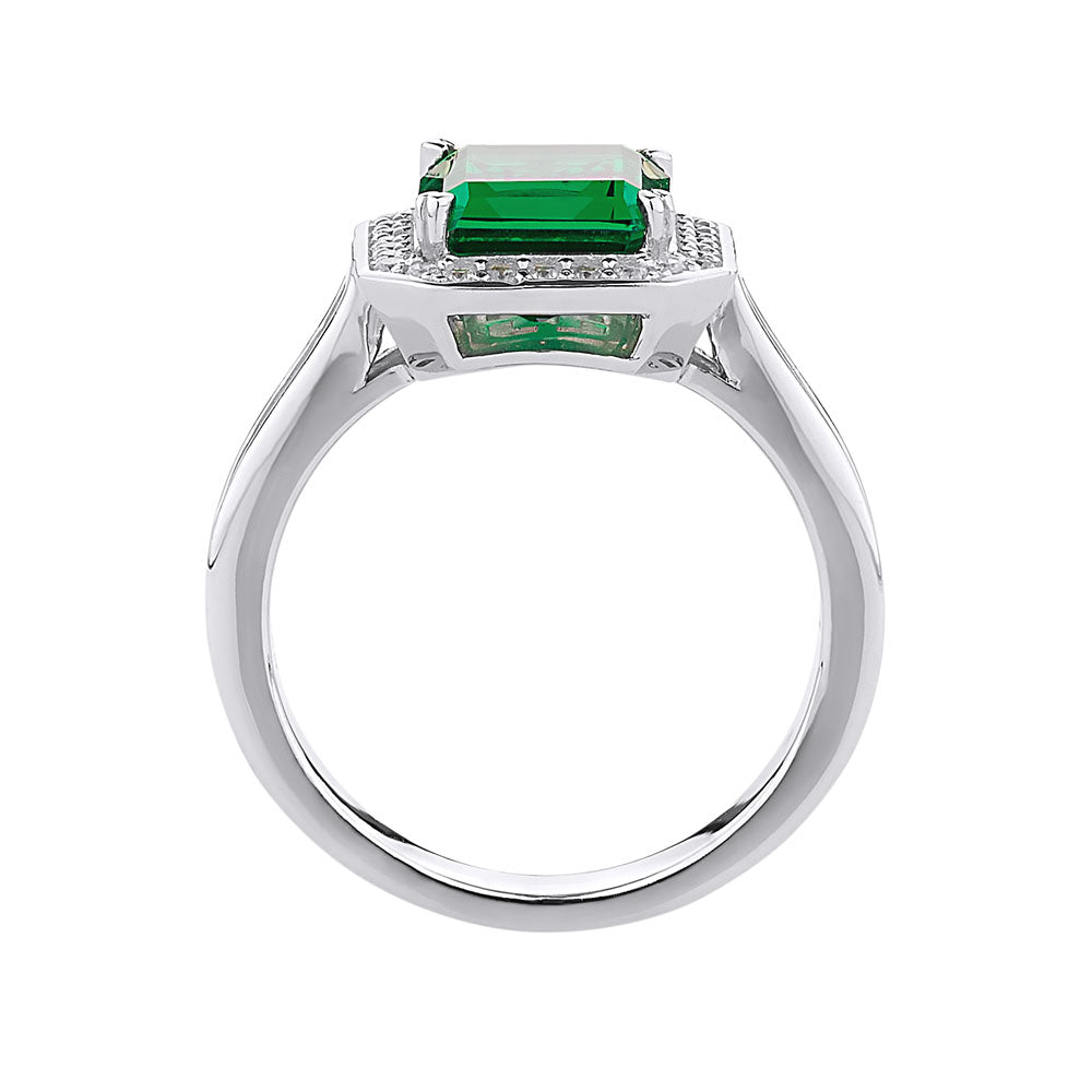 Emerald Cut Sterling Silver Dress Ring - Emerald Simulant Colour