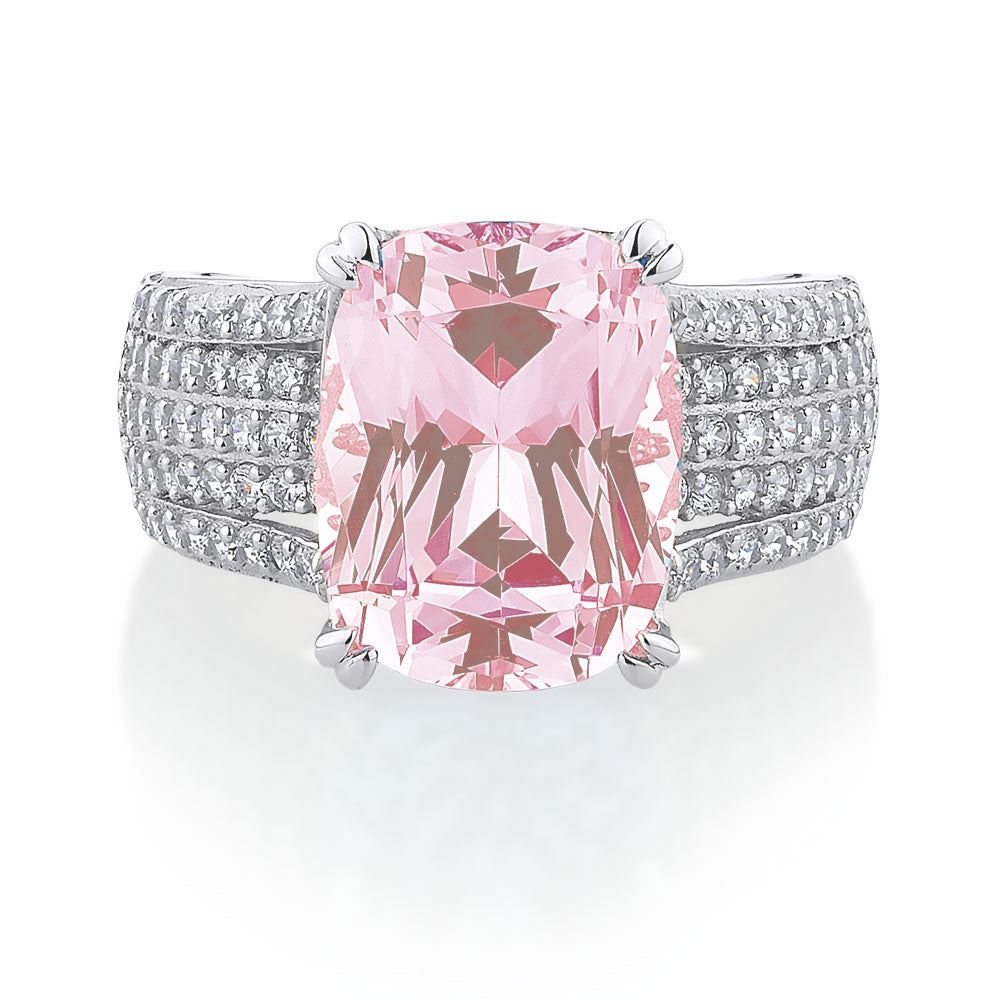 Radiant Cut Sterling Silver Dress Ring - Pink Diamond Simulant Colour