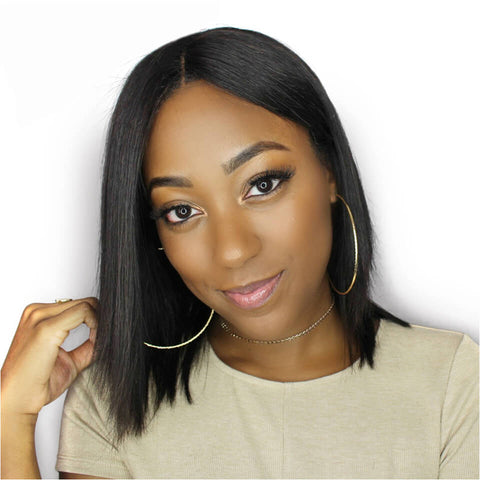 Straight Bob Brazilian Virgin Hair Front Lace Wigs
