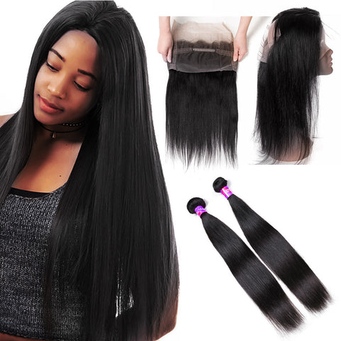 Pre-plucked 360 Lace Frontal Band with 2 Bundles Straight Brazilian