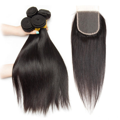 Brazilian Straight Hair 4 Bundles With Lace Closure