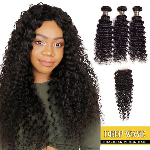 3 Bundles Brazilian Deep Wave Hair With Lace Closure