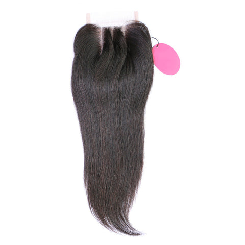Brazilian Straight Hair Lace Closure Three/Middle/Free Part