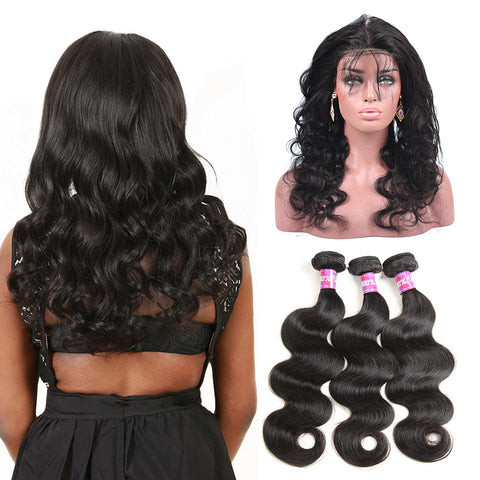 360 Lace Frontal Band with 3 Bundles Body Wavy Brazilian