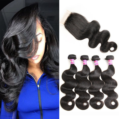 Brazilian Virgin Hair Body Wave 4 Bundles With Lace Closure Free/Middle/Three Part Closure 4*4inch