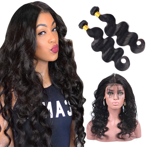 360 Lace Frontal Band with 2 Bundles Body Wavy 7A Brazilian Virgin Hair
