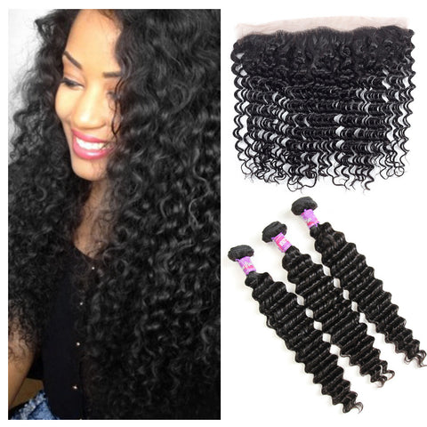 Deep Wave 3 Bundles With Frontal Closure