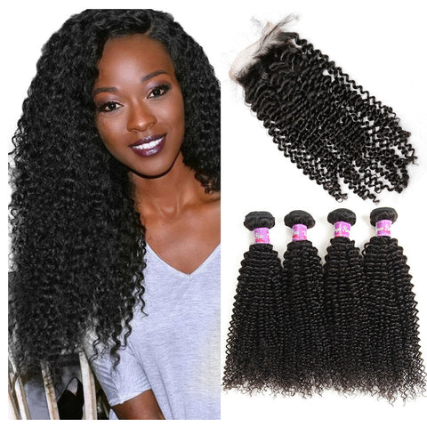 4 Bundles Brazilian Kinky Curly Hair With Lace Closure