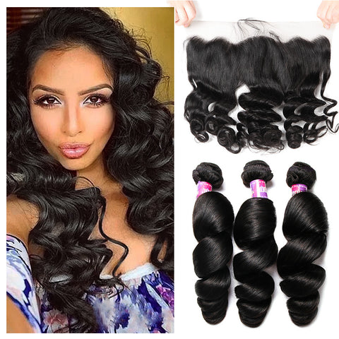 Loose Wave 3 Bundles With Frontal Closure