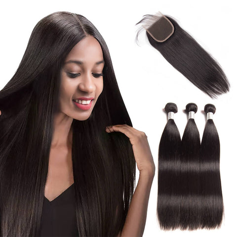 Brazilian Straight Hair 3 Bundles With Lace Closure