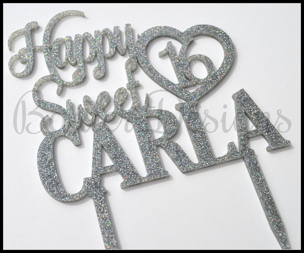 Glitter Acrylic Cake Toppers Birthday Wedding Engagement Party Event