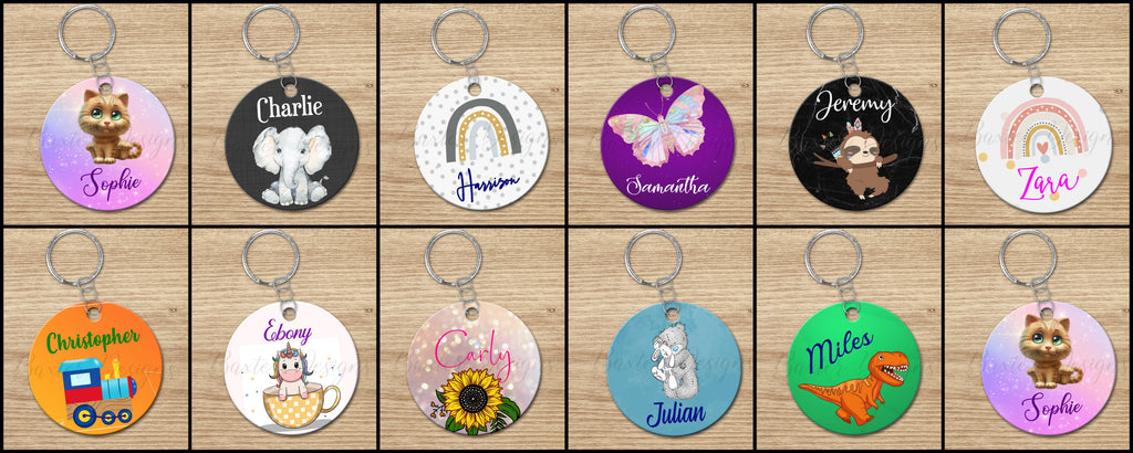 Printed Colourful Bag Tags Personalised Key Ring