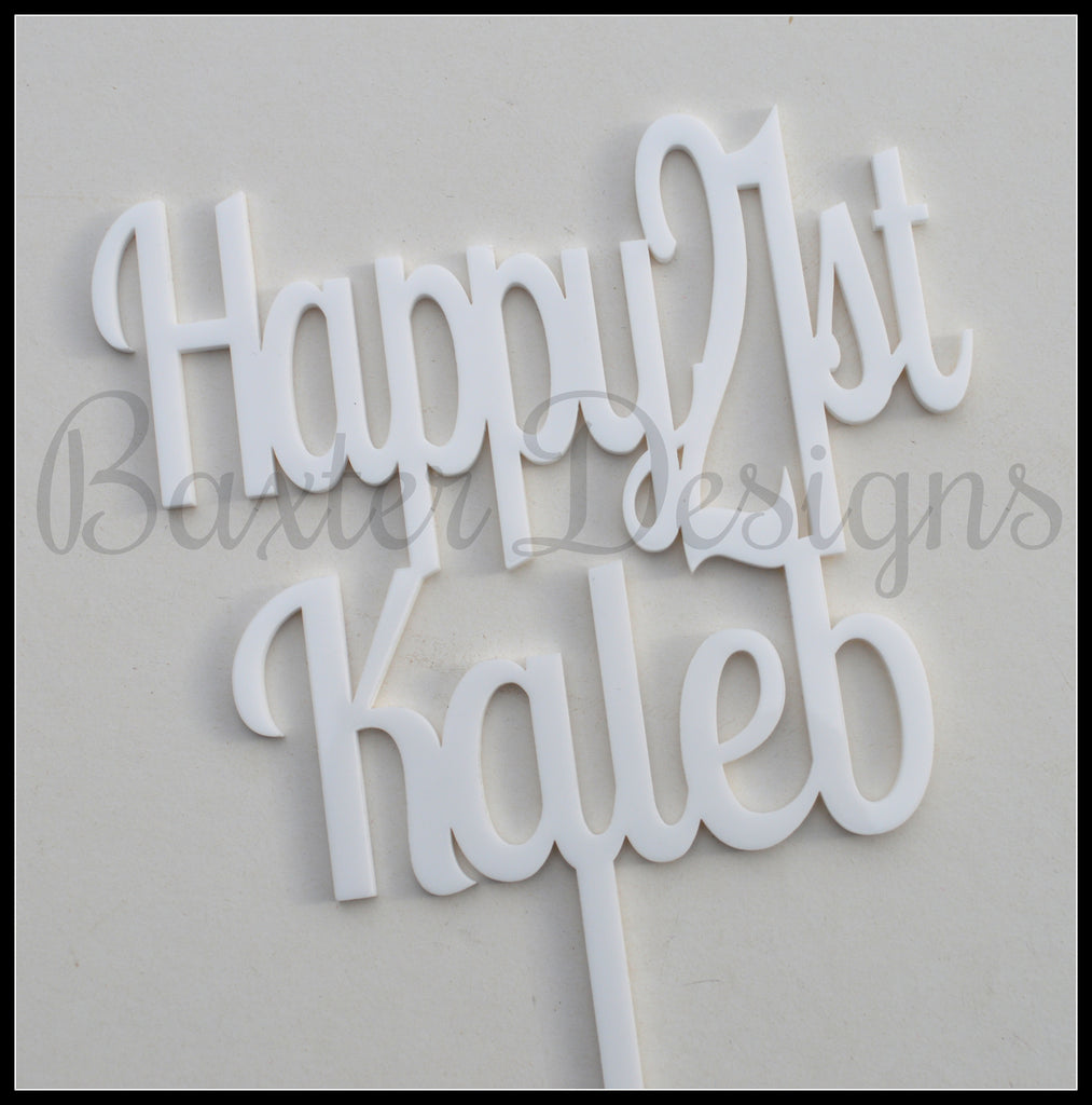 Colour Acrylic Cake Topper Happy 21st White