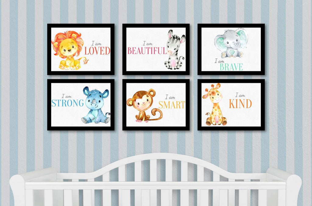 Baby Nursery Inspiration quotes with Baby animals Full set of 6 - Baxter Designs Australia